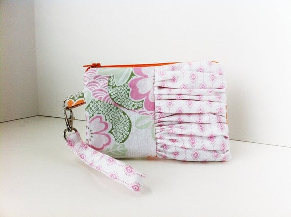 Asian Inspired Spring Floral Ruffle Wristlet With Lanyard in Pink Orange and Green