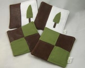 Faux Textured Leather and Olive Green Linen Fabric Coasters with Appliqued Tree or Quilted Squares