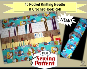 40 Pocket Knitting Needle and Crochet Hook Organizer Roll PDF Very Easy Sewing Tutorial INSTANT DOWNLOAD