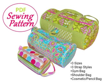 NEW PDF Sewing Pattern for Barrel Bag: 3 Sizes, 3 Strap Styles-Full Size Pattern Pieces