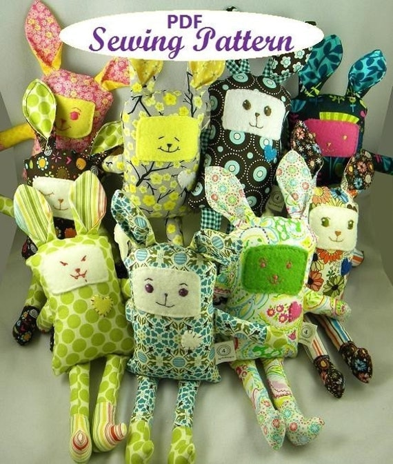 INSTANT DOWNLOAD Funny Bunny pdf ePattern for Sewing Your Own Bunnies NOW in Three Sizes
