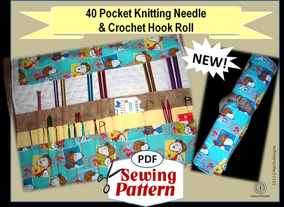 Knitting Needle Roll Pattern : 40 Pocket Knitting Needle and Crochet Hook Organizer Roll PDF