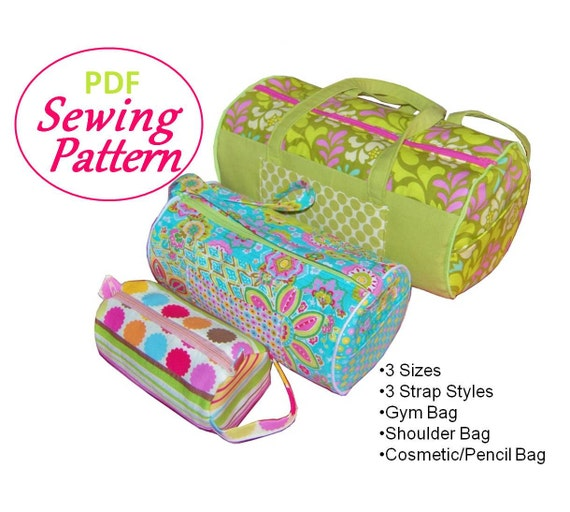 PDF Sewing Pattern for Barrel Bag: 3 Sizes, 3 Strap Styles