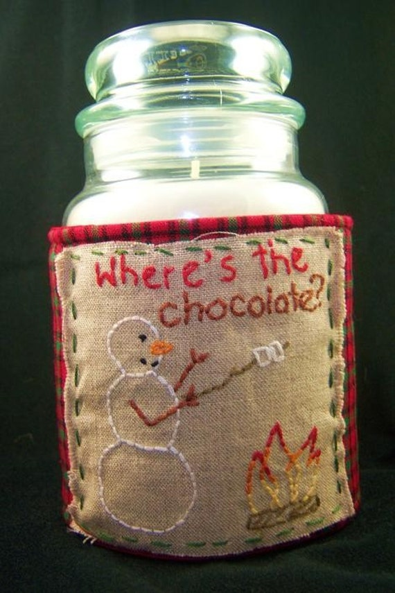 Homespun Plaid and Linen Candle Jar Wrap Cozy Hand Embroidered Snowman with Where s the Chocolate-NOW on Sale