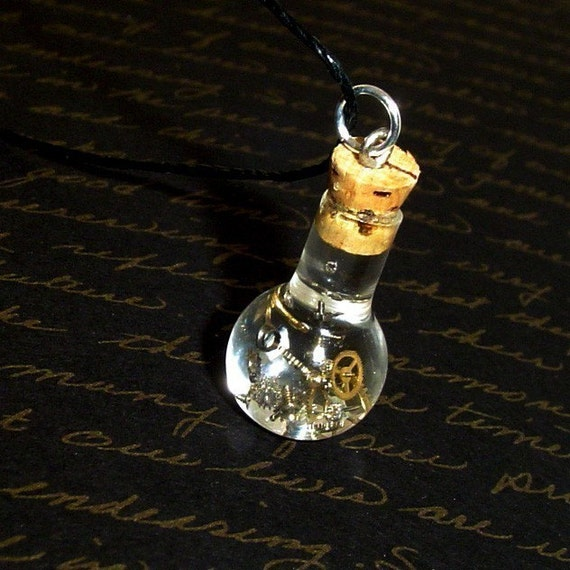 Steampunk - Time Travel Potion in a Bottle Necklace