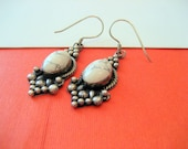 SALE.....White Buffalo Turquoise and Sterling Drop Earrings