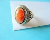 SALE...Art Deco Carnelian and Fine Silver Filigree Ring