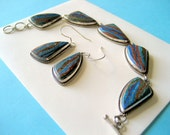 Rainbow Calsilica and Sterling Bracelet and Earring Set