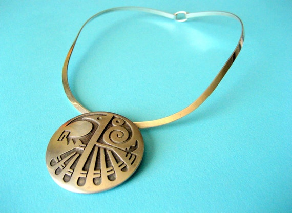 RESERVED.....SALE.....Large Navajo Eagle Pendant/Pin on Sterling Choker