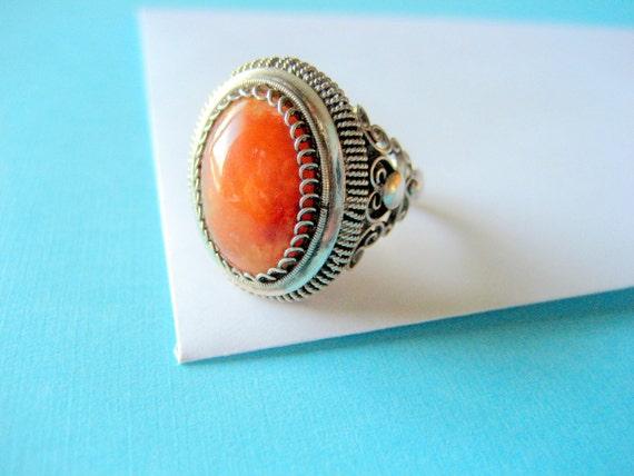 SALE...Art Deco Carnelian and Fine Silver Filigree Ring