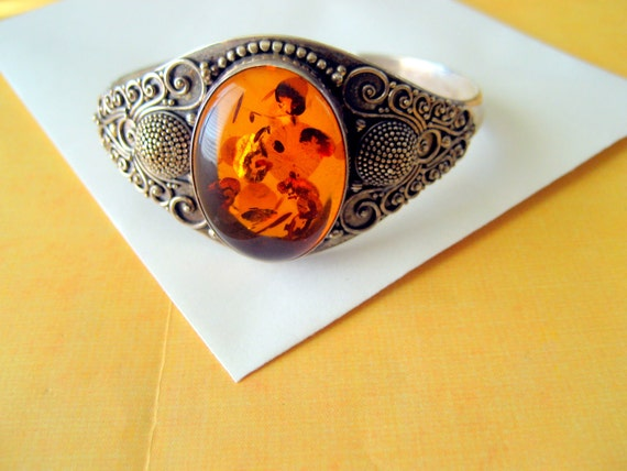 SALE.....Sterling and Amber Artisan Cuff