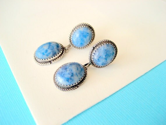 SALE...Navajo Denim Lapis Drop Earrings