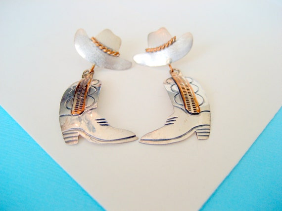 Sterling Silver Hat and Boot Earrings