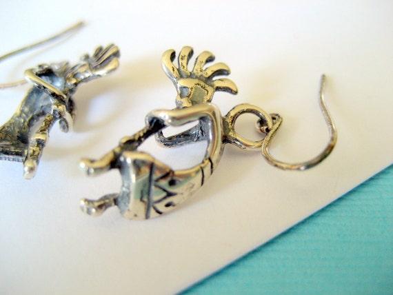 Small Sterling Kokopelli Earrings