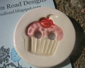 Landen Road - Cutie Cupcake - Buttons - ceramic - kiln fired clay
