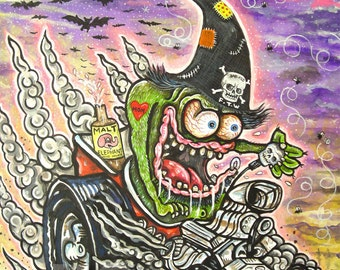 Halloween Hot Rod rat Fink UC Studios PRINT 181 Reproduction from Painting by Michael Brown