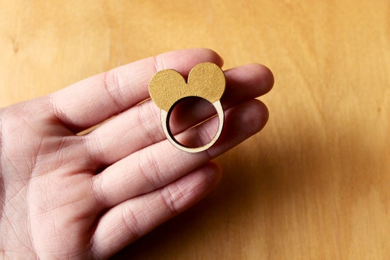 Wooden Ring Love Heart Shaped