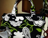 Large Black White and Green Floral Canvas Zippered Tote Purse