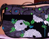 Black and White Floral Zippered Large Purse