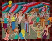 Beer Tent  fArCiCaL fOLk aRt Print by Donna Pellegata