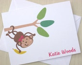 Personalized Monkey Note Cards - Monkey Cards  - Set of 8 Cards for Girl