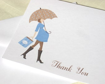 Baby Shower Thank You Cards for Baby Boy - Mod Maternity Note Cards - Set of 25 - Baby Thank Yous - Baby Stationery