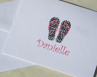Personalized Flip Flops Note Cards - Set of 8 Zebra Print Note Cards
