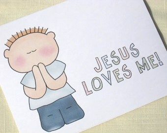 Religious Boy Note Cards -  Religious Note Cards for Boy - Christian Note Cards  - Set of 8 Boy Greeting Cards
