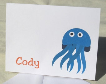 Jellyfish Note Card Set - Set of 8 Personalized Ocean Themed Note Cards