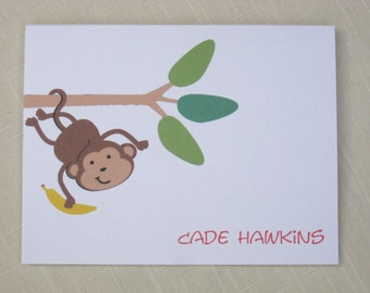 Personalized Monkey Cards - Monkey Note Cards  - Set of 8 Cards for Boy