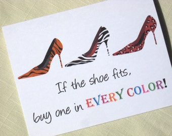 High Heel Shoe Note Cards - Set of 8 Animal Print Note Cards