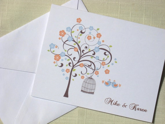 Bridal Shower Thank You Notes -  Personalized Wedding Cards  -  Tree and Bird Cage Set of 8