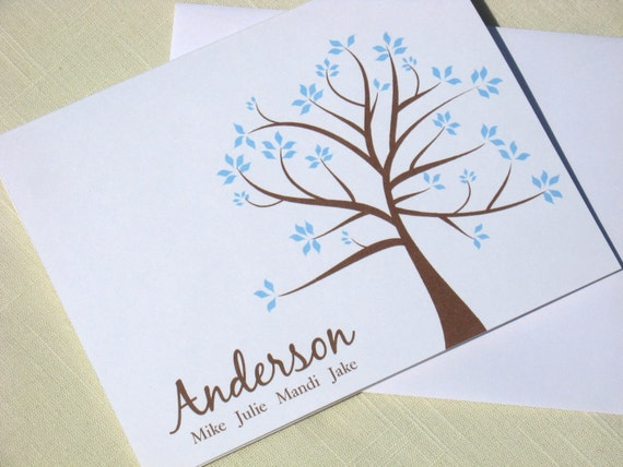 Family Name Note Card Set - Set of 25 Custom Note Cards - Choose Color