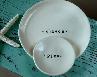 Set of Small Dishes for Olives and Pits, Dishes with Olive and Pits Text