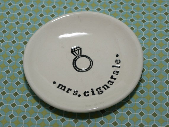 Custom Small Round Dish with Diamond Ring and Name or Monogram- to ship Aug 2012