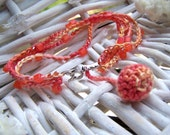 Coral Bead Crocheted Bracelet