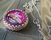 Purple Berry Beaded Bottlecap Keychain