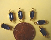 6 Vintage Blue Sapphire Glass Octagon Connector Charms 8x4