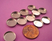 18 Silver tone Round Bezel Cups 12mm High Wall