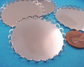 Silver tone Round Lace Edge Bezel Cups 40mm