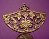 2 Brass  art nouveau Floral Fan open cut pendant charm