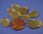18 Brass Oval Lace Edge Bezel Settings 14x10