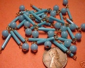 24 Vintage Turquoise Rod and Ball Bead Drops