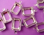 14 silver tone Octagon Prong Settings Open Backs 1 Ring 14x10