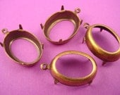 12 brass ox Oval Prong 18x13 Settings 1 ring open Back