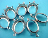 12 silver tone oval prong open back 18x13 setting connector charms