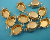 24 Brass Oval Prong Settings 10x8 2 Ring Closed Backs