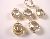 4 Vintage Crystal Faceted Oval Drop Charms 12x10 Brass Prong Settings 1 Ring Open Backs