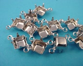 18 silver tone Square 6mm Prong Settings  Connectors  6x6 closed back 2 ring