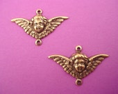 4 brass ox art nouveau Angel Cherub wing 2 loop connector charms 29mm